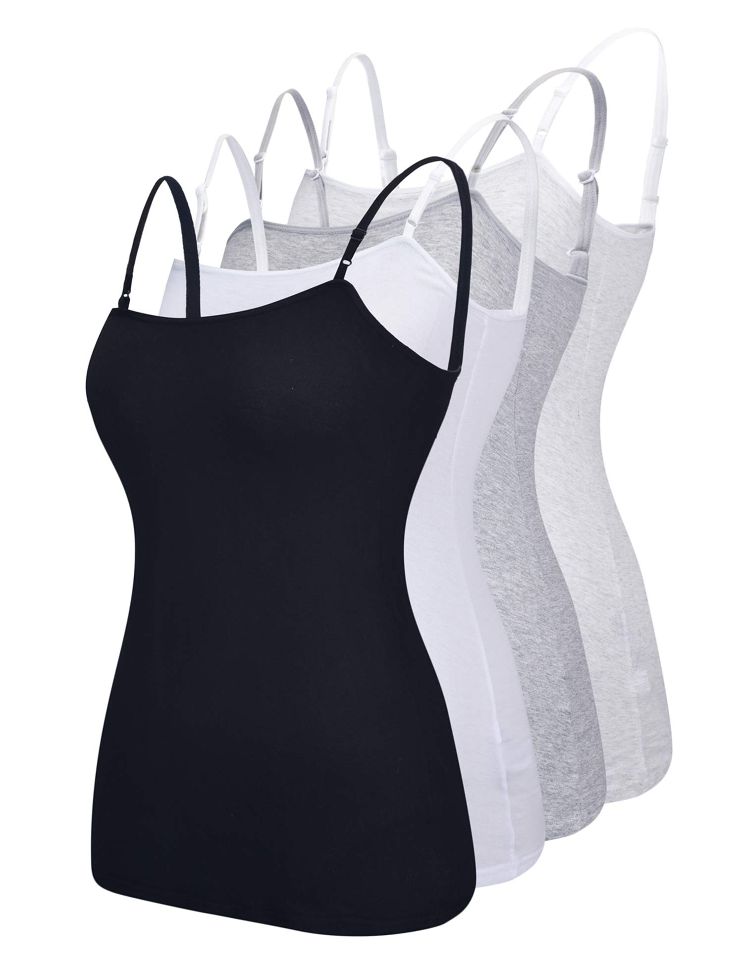 Suntasty 4 Pack Cami Women's Basic Casual Long Adjustable Spaghetti Strap Camisole Tank Top Black White Grey Light Grey S