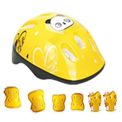 GEZICHTA Kids Sport Helmet and Protected Pads Set, 7Pcs/Set Elbow Wrist Knee Pads and Helmet Protector, Safety Protective Gear for Sports Skateboard Skating Cycling Riding (Yellow) : Sports & Outdoors
