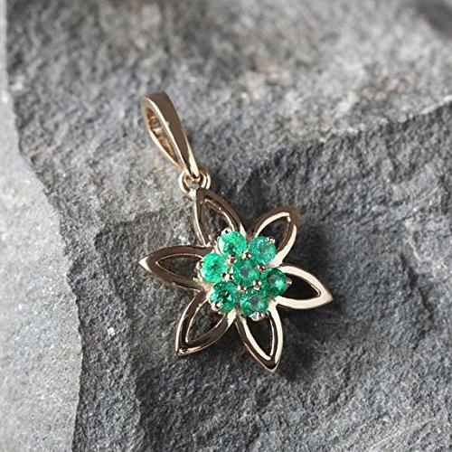 Genuine Emerald Gemstone Floral Design Pendant Solid 18k Yellow Gold Handmade Fine Jewelry