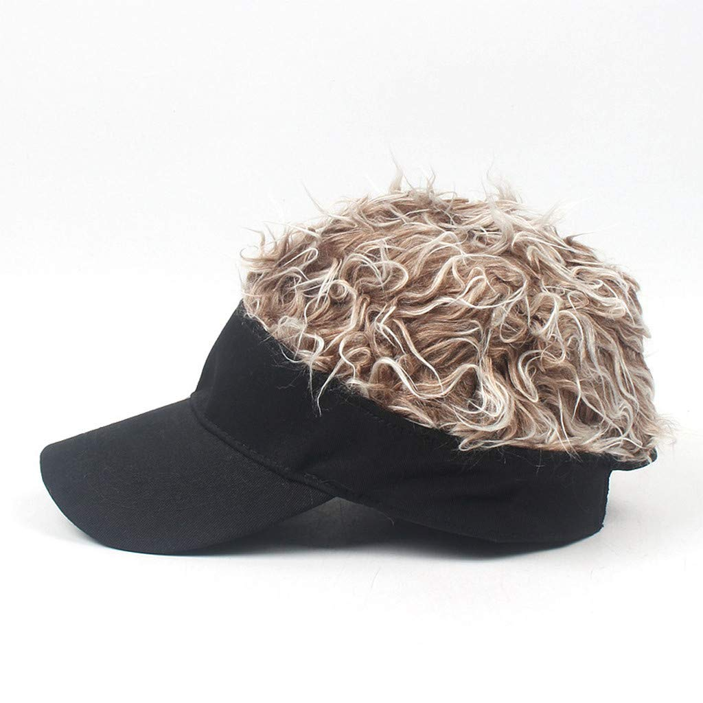 Wig Baseball Cap Sun Visor Cap Parent-Child Hat Peaked Adjustable Baseball Hat Spiked Hair Gag Visor Hat Cap (C)