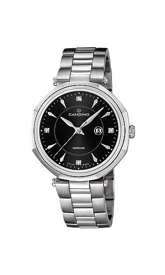 Candino C4523/4 - Reloj analógico de Cuarzo para Mujer, Correa de Acero Inoxidable Color Plateado: Amazon.es: Relojes