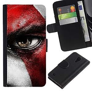 KLONGSHOP // Tirón de la caja Cartera de cuero con ranuras para tarjetas - Dios de la guerra CRATO - Samsung Galaxy S4 IV I9500 //