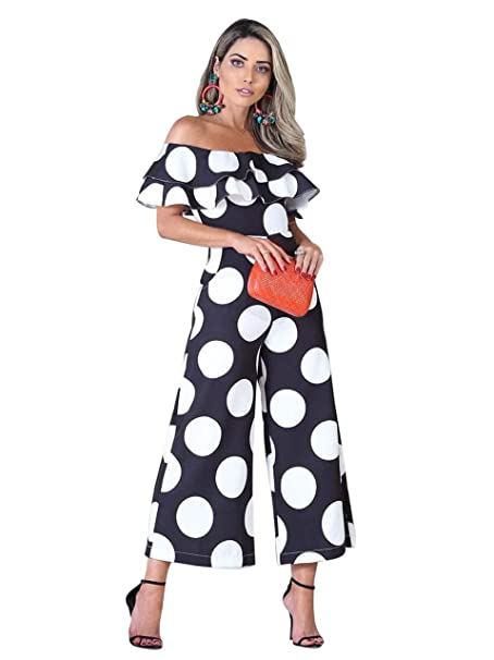 Trinhguo Women Off Shoulder Ruffles Polka Dot Jumpsuit Black White
