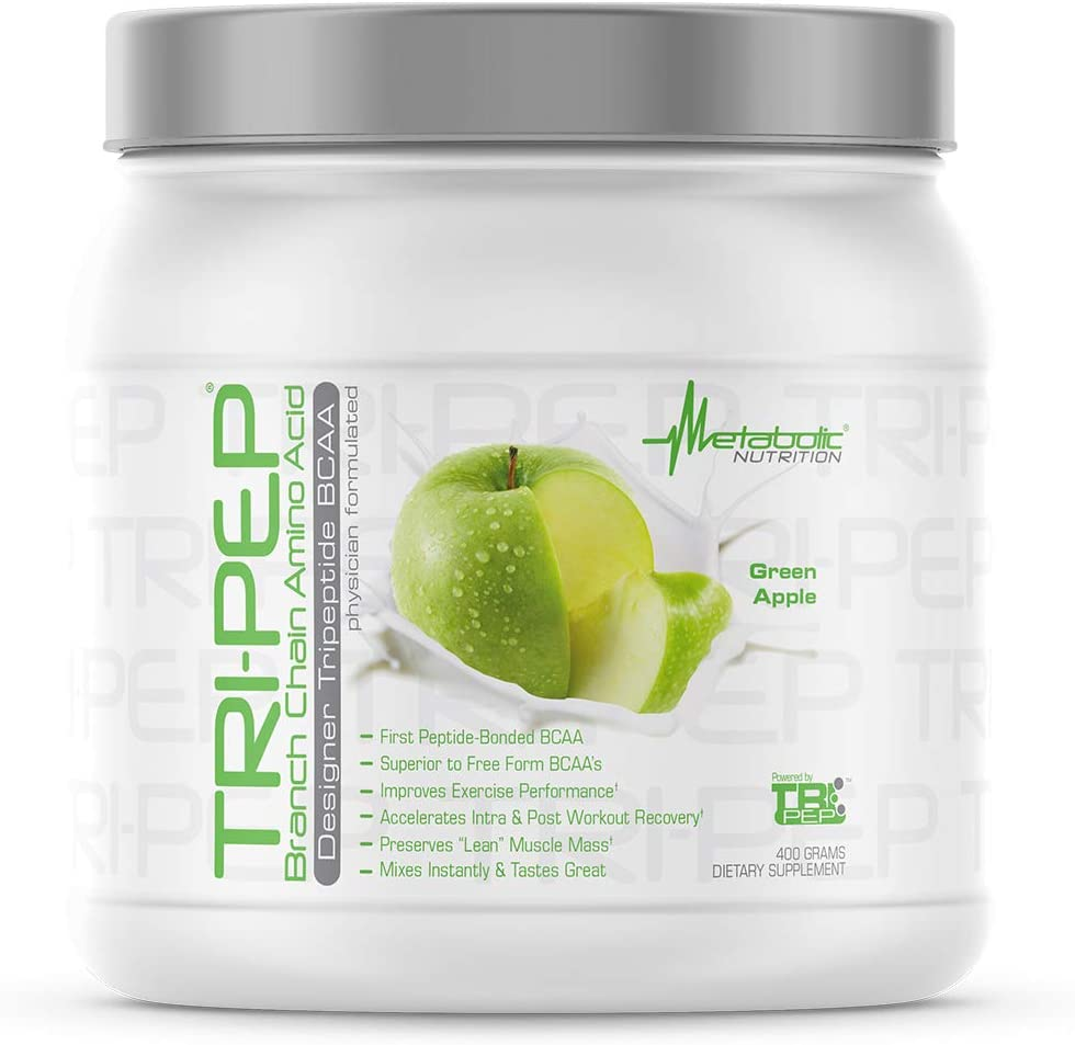 Metabolic Nutrition - TRIPEP - Tri-Peptide Branch Chain Amino Acid, BCAA Powder, Pre Intra Post Workout Supplement, Green Apple, 400 Grams (40 Servings)