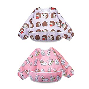 Long Sleeved Bib Waterproof Bibs for Babies and Toddlers with Pocket (6-24 Months) - Pack of 2 by Little Dimsum …