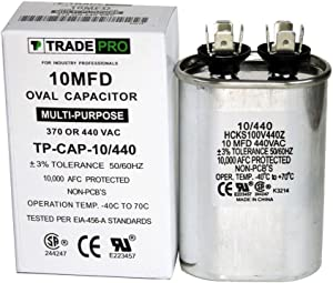 TradePro 10 MFD 440 or 370 Volt Oval Run Capacitor Replacement 10 microfarads