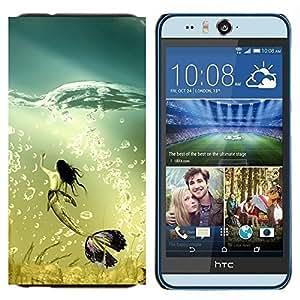 TECHCASE---Cubierta de la caja de protección para la piel dura ** HTC Desire Eye ( M910x ) ** --Sirena Ballena Ocean Turquesa Burbujas Arte