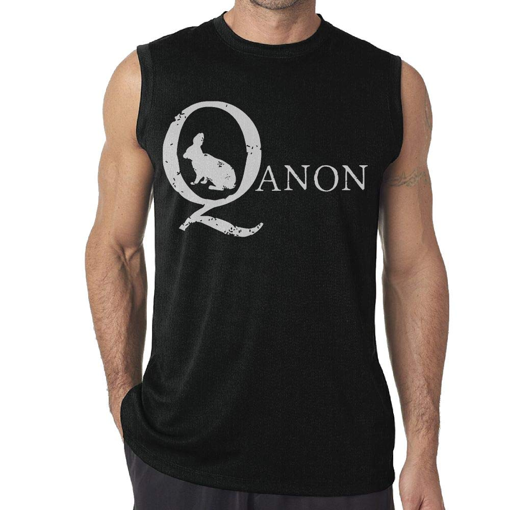 Mens Tank Top QAnon White Rabbit Exercise Tank 100/% Cotton Bodybuilding Vest