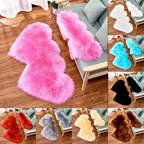 Excursion Home Modern Non Slip Heart Shape Imitation Sheepskin Ultra Soft Silky Fluffy Area Rugs, Fluffy Shag Rug for Living Room Bedroom Kids Adult Room Floor