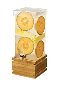 RossetoLD180 4 Gal. Rectangle Clear Acrylic Beverage Dispenser with Bamboo Base