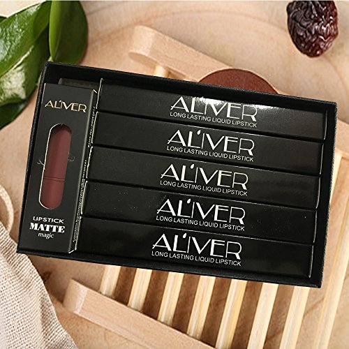ALIVER 5 Pcs Matte Liquid Lipstick Waterproof Long-Lasting Pigmented Lip Gloss Girl women Gift Set (# 1.5.6.7.12)