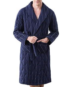 GKKXUE Albornoces de Pijamas de otoño e Invierno para Caballero Vestidos Acolchados de (Color :