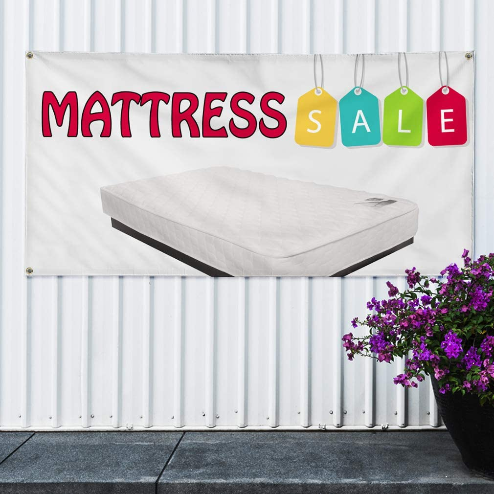 32inx80in 6 Grommets Multiple Sizes Available Set of 2 Vinyl Banner Sign Mattress Sale White Business Mattress Marketing Advertising White