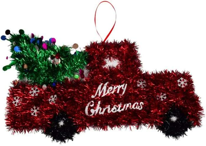 Red Truck with Christmas Tree Wall Door Hanger Tinsel Holiday Decor