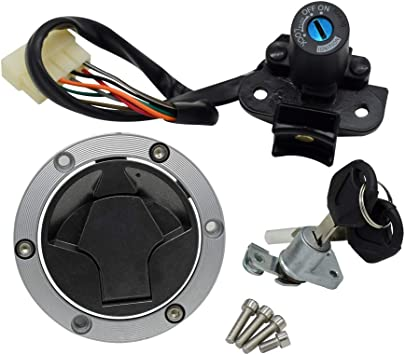NewYall Ignition Switch Lock /& Fuel Gas Cap /& Steering Lock /& 4 Screws /& 2 Keys Set