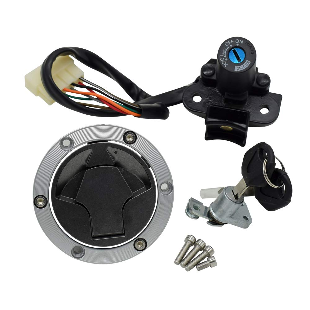 For Kawasaki Ninja 250R EX250J 300 EX300 2008-2015 Motorcycle Ignition Switch Kit Assembly Fuel Gas Cap Tank Cover With 2 Keys