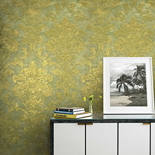 76 sq.ft rolls Portofino wallcoverings embossed Vinyl Italian Wallpaper green gold metallic rusted vintage design victorian large damask pattern textured Baroque Style wallpapers for wall coverings 3D ()