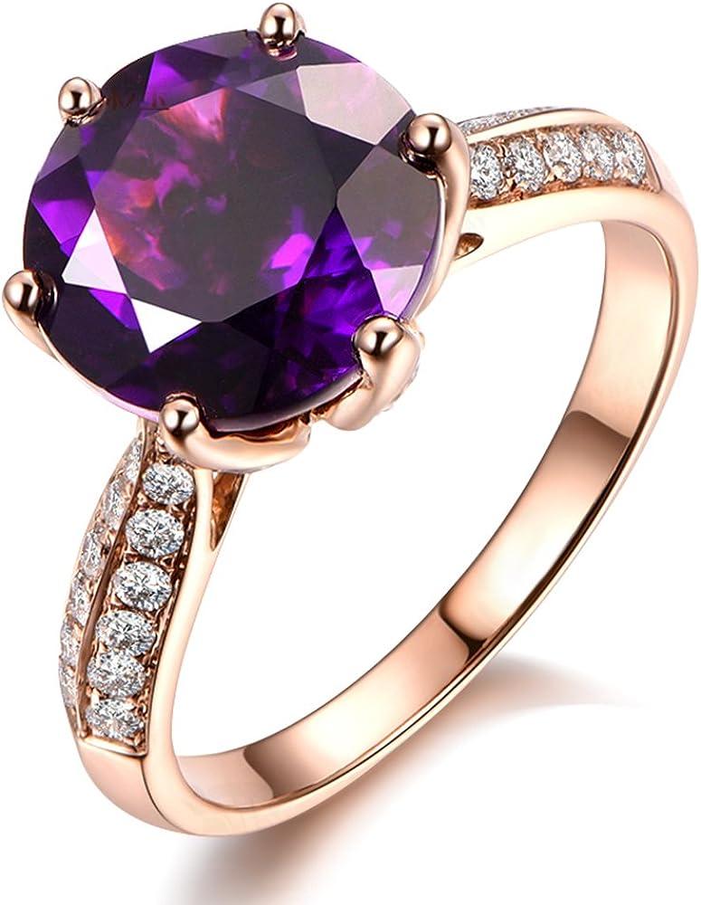 Piedra preciosa Morado Amatista Piedra preciosa Prong Conjuntos eternidad Diamante 14K Oro rosa Aniversario Boda Anillo para Mujer