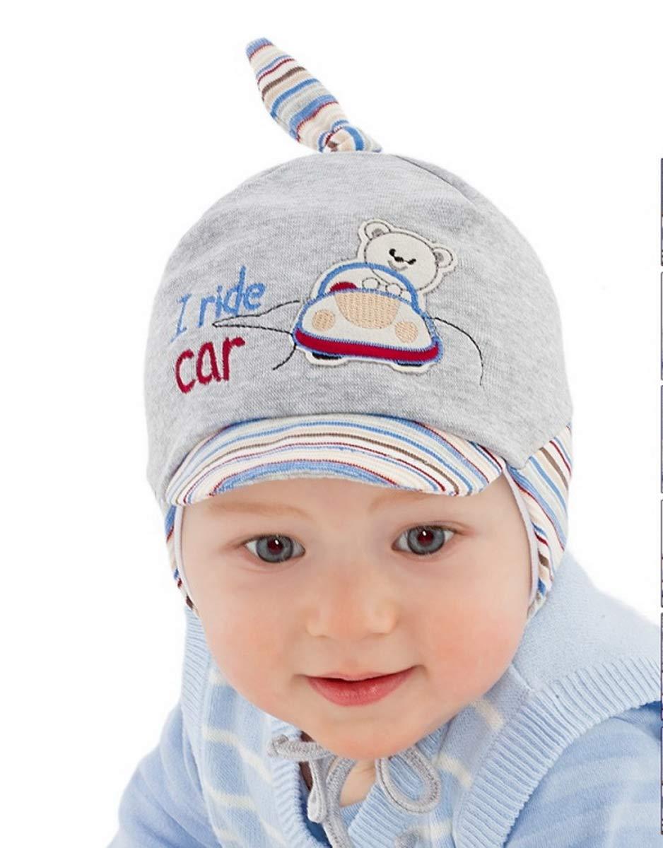 c373d480e New Baby Boy Cotton Rich Hat Boys Spring Autumn Cap Hat 0-18 Months  (Newborn 38cm, Grey Striped)