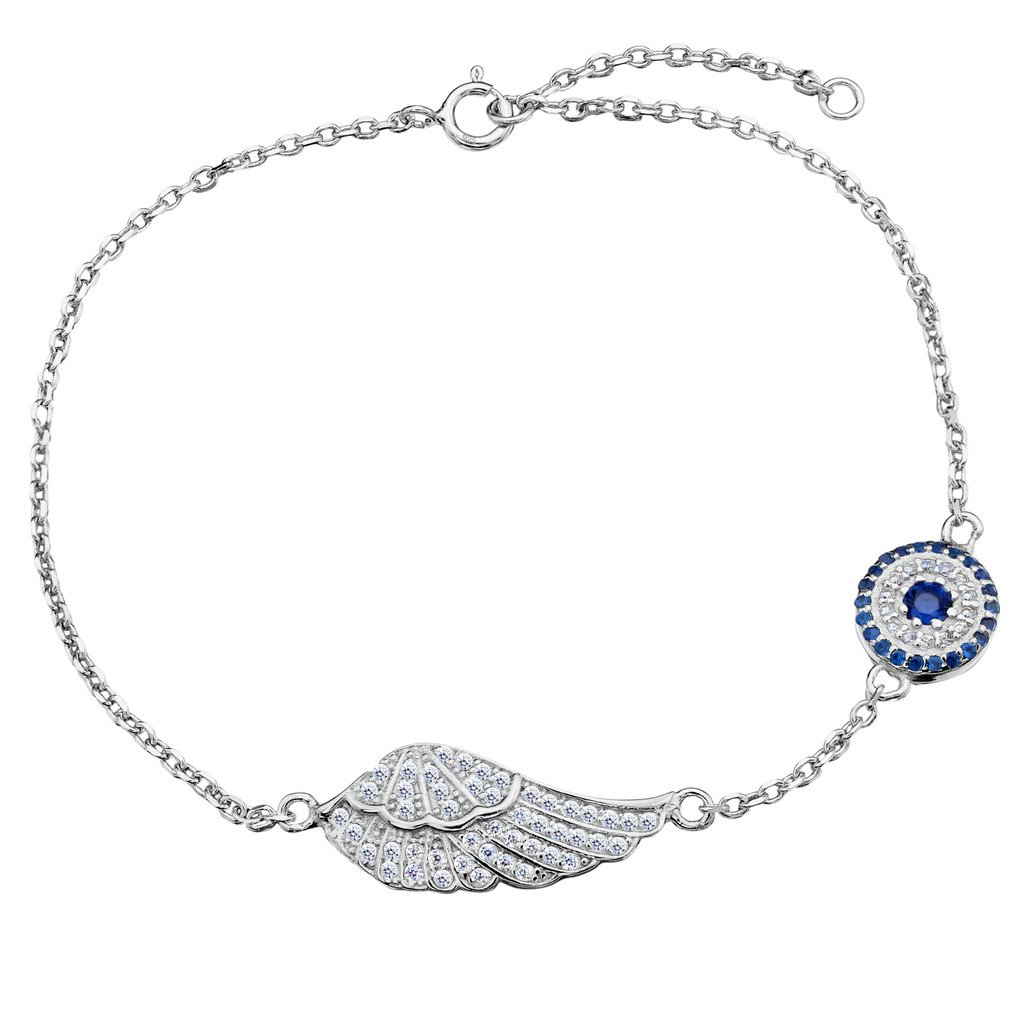 EVER FAITH 925 Sterling Silver CZ Elegant Angle Wing Feather Blue Evil Eye Link Bracelet Chain Clear
