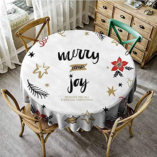 ScottDecor Joy Dinning Tabletop Decoration Christmas Themed Flowers Swirls Stars Celebratory Arrangement Merry Illustration Wedding Round Tablecloth Camel Red Black Diameter 50