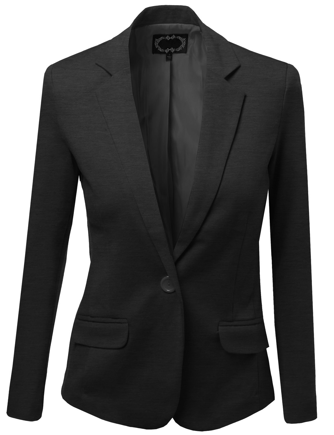Basic Solid Slim Fit One Button Blazers Charcoal Size S by Awesome21