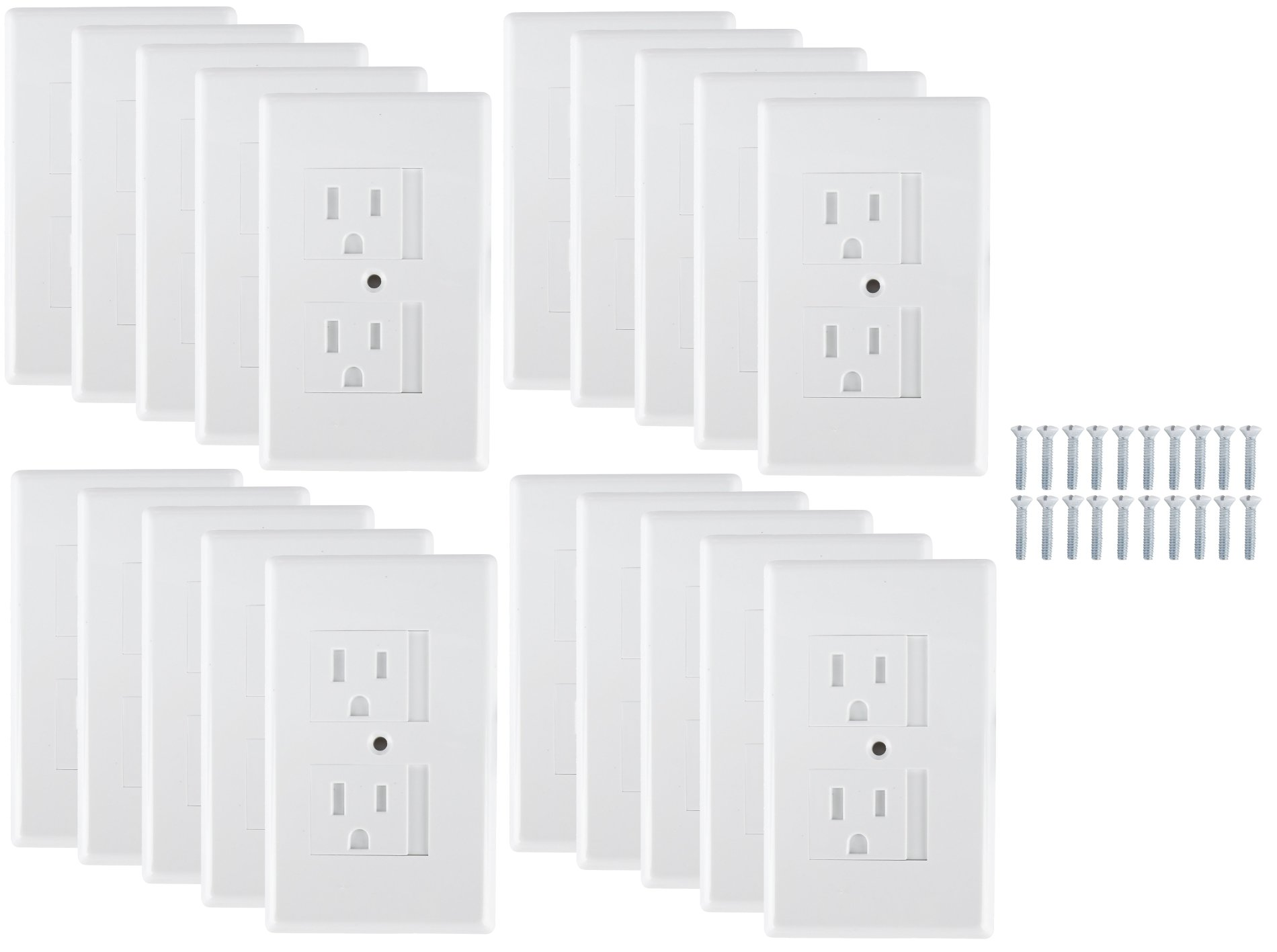Mommys Helper Safe Plate Electrical Outlet Covers Standard, 20 Pack, White
