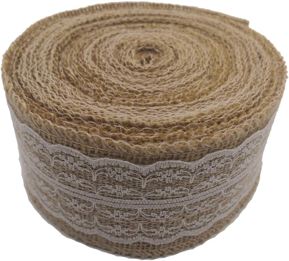 Treehouse 393 Inch Natural Burlap Ribbon Roll with White Lace Trims, Burlap Ribbon with lace for Wedding Decoration DIY Ribbon Decoration