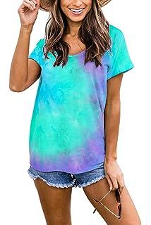 HAVANSIDY Womens Short Sleeve Shirts V-Neck Loose Casual T-Shirt Tunic Tops