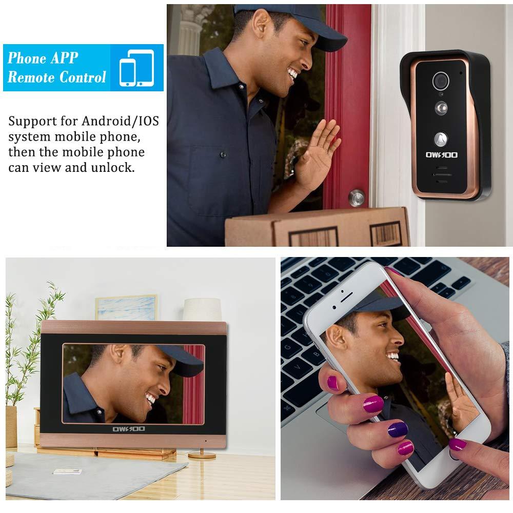 OWSOO 7 Zoll Video-t/ürsprechanlage T/ürklingel Intercom Kit TFT-LCD Farbbildschirm 1 Innenmonitor 1 Au/ßenkamera Unterst/ützung Nachtsicht Wasserdicht Entsperren Monitor F/ür Home Apartment Villa