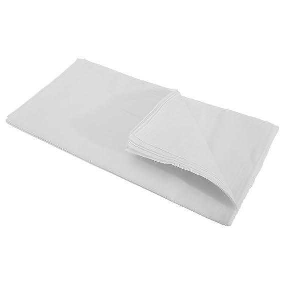 Severyn Pañuelos básicos de tela blancos para hombre caballero (Paquete de 10 unidades)