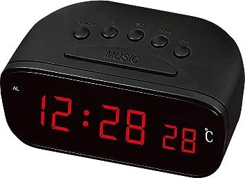 Enchufe el LED reloj Digital reloj LED reloj temperatura de color luz azul luz roja luz verde, rojo: Amazon.es: Deportes y aire libre