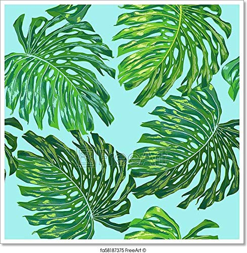 (Floral Tropical Seamless Pattern. Palm Leaves Monstera Watercolor Background for Wallpaper, Fabric, Textile, Wrapping Paper. Tropic Botanical Design. Vector Illustration Paper. (28in. x 28in.))