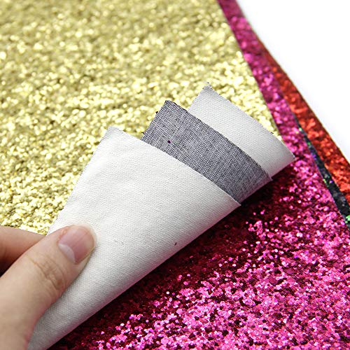 David accessories Glitter Sequins Fabric Faux Leather Sheets Synthetic Leather Fabric 11 Pcs 8'' x 13'' (20 cm x 34 cm) Assorted Colors Thick Canvas Back Craft for DIY Earrings Making (11 Color) by David accessories (Image #5)