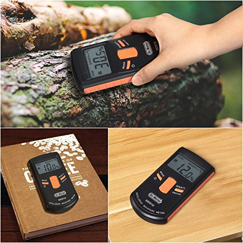 Pinless Wood Moisture Meter, Dr.meter Upgraded Inductive Pinless Tools, Intelligent Lumber Moisture Meter, Digital Moisture Meter for Wood, (Range 4% - 80% RH; Accuracy: 0.5%), MD918
