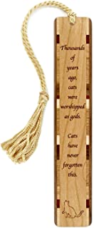 product image for Personalized Humorous Cat Quote,Worshipped - Engraved Wooden Bookmark with Tassel - Search B01GSTLNPW for Non-Personalized Version