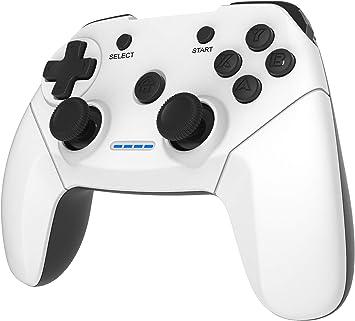 Maegoo Mando PC PS3 TV Inalámbrico, 2.4GHz Wireless Game Controlador Gamepad Joystick con Dual Shock Recargable para Sony Playstation 3 y PC Windows 10 XP 7 8 Smart TV/TV Box (Blanco+Negro): Amazon.es: