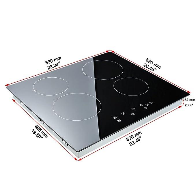 Cocina de inducción 6000W, Cocina eléctrica integrada de 4 ...