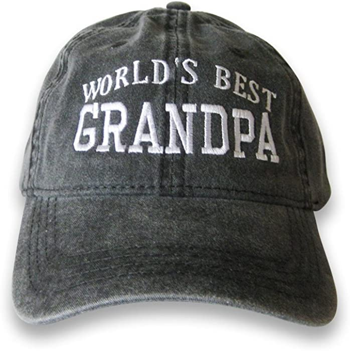 76fbe6e5 World's Best Grandpa Embroidered Cap Hat (Black) at Amazon Men's ...