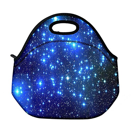 Newplenty Waterproof Neoprene Reusable Durable Insulated Lunch Boxes for Women Teen Girls Lunch Bag Box Tote for School Work Office Picnic Travel Mom Bag Blue Galaxy