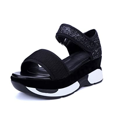 8343225e5f28 VASHOP Women s Platform Buckle Sandal Open Peep Toe Fashion Chunky Ankle  Strap Shoe
