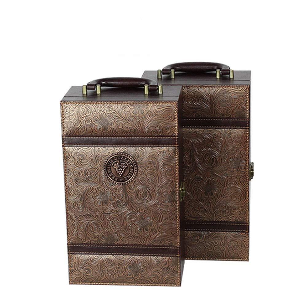 Luxus-Geschenkbox Vintage Brown PU Leder Tragbare Weinbox 2 Flasche Rotwein Champagner Lagerung Geschenk Verpackung Box Reise Weinkoffer mit Griff 4 St/ück Wein Werkzeuge Zubeh/ör Set f/ür Geburtstagsfei