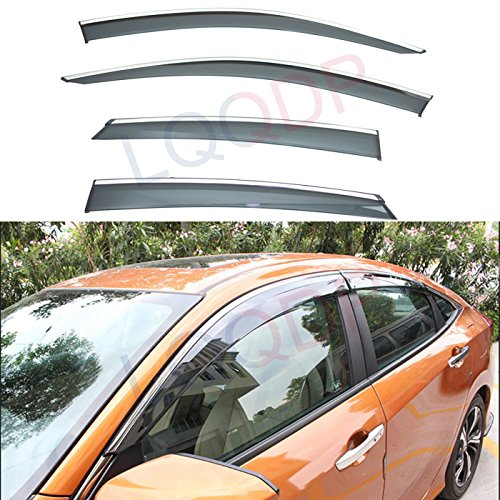 LQQDP 4pcs Smoke Tint With Chrome Trim Outside Mount Tape On/Clip On Style PVC Sun Rain Guard Vent Shade Window Visors Fit 16-18 Honda Civic 4-Door Sedan ()