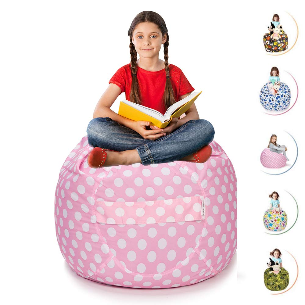 CALA LIFE Stuffed Animal Storage Bean Bag Chair Extra Large Pink Beanbag Soft Cotton Canvas Organizer Box for Kids - 38'' (Pink Dot) by CALA LIFE