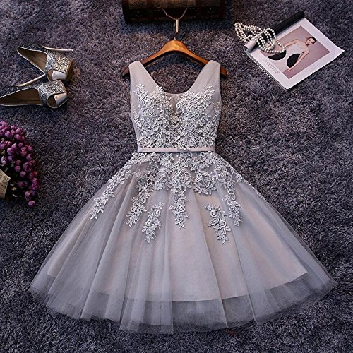 Babyonlinedress Vestido corto para fiesta de noche y para boda estilo A-line elegante cuello redondo sin mangas espalda de cierre y de trenza plateado