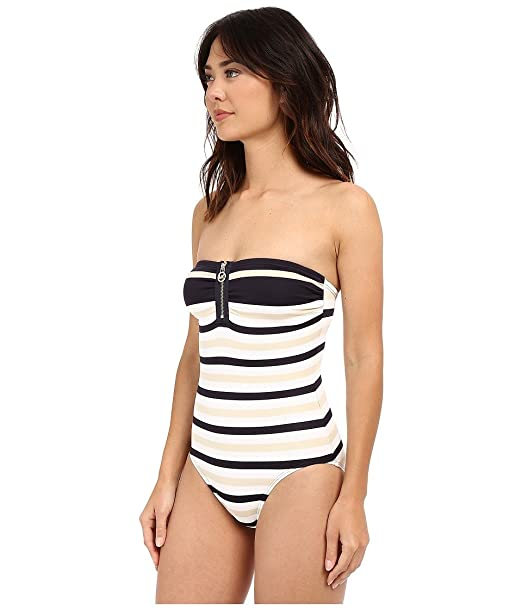 5910cc4a3c933 MICHAEL Michael Kors Striped Zipper Bandeau Maillot One-Piece Santorini  Swimsuit at Amazon Women's Clothing store: