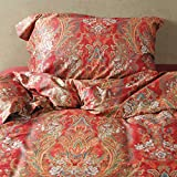 Deep Sleep Home 350 Thread Count 100% Cotton Sateen Fabric Bright Yellow Printing Paisley Grass Leaves 4pc Duvet Cover Set Christmas Gift Full/Queen Size (Queen Size, Vanessa)