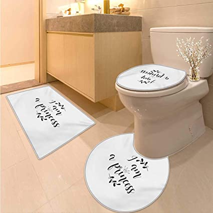 Amazon.com: Anhuthree I am a Princess Toilet mat Set Monochrome Hand ...