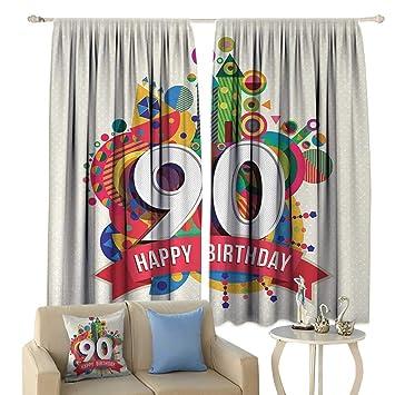 Amazon.com: HoBeauty - Cortina de 90 cumpleaños, tela para ...