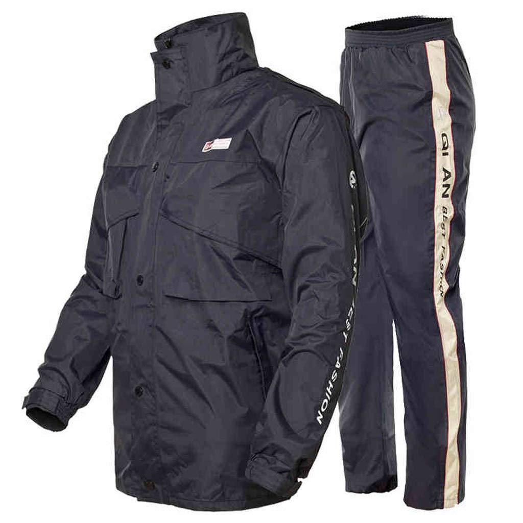 RFJJAL Traje de Lluvia para Hombres Ropa Impermeable Reutilizable Chaqueta para la Lluvia y Conjunto de Pantalones de Lluvia Adultos Impermeable a Prueba de Viento con Capucha Trabajo al Aire Libre